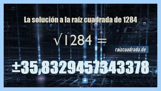 Solución final de la resolución operación matemática raíz del número 1284