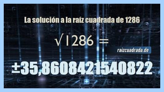 Solución final de la resolución raíz cuadrada del número 1286