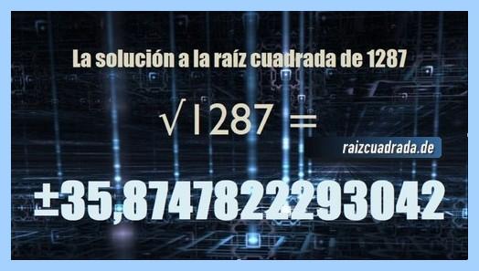 Resultado que se obtiene en la raíz cuadrada de 1287