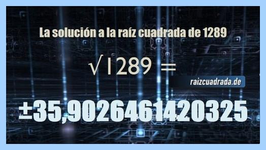 Solución finalmente hallada en la resolución operación matemática raíz cuadrada del número 1289
