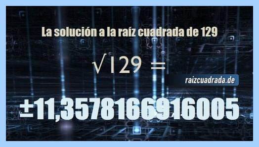 Solución obtenida en la raíz cuadrada del número 129