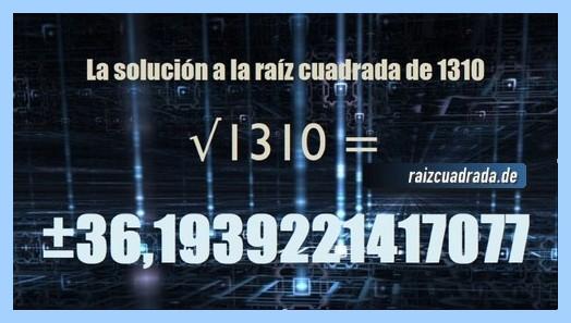 Solución conseguida en la raíz cuadrada del número 1310