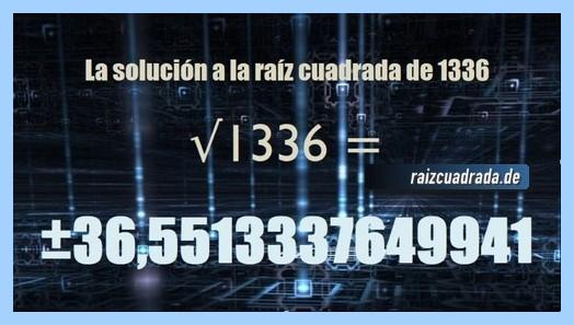 Resultado conseguido en la resolución operación matemática raíz del número 1336