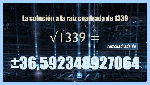 Solución finalmente hallada en la resolución raíz cuadrada de 1339