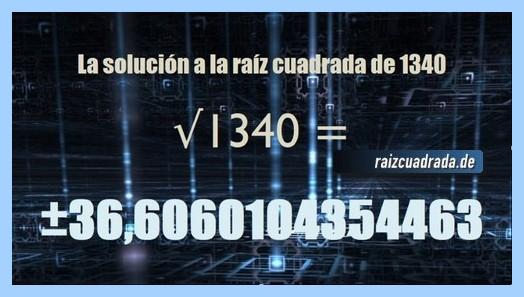 Número final de la resolución operación matemática raíz del número 1340