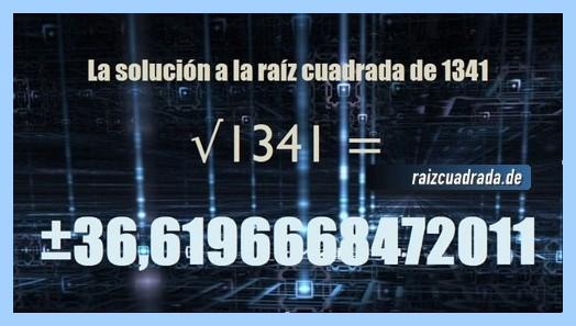Número conseguido en la resolución raíz cuadrada de 1341