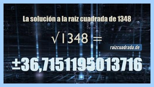 Resultado final de la resolución operación matemática raíz cuadrada de 1348
