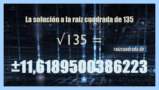 Número finalmente hallado en la operación raíz cuadrada de 135