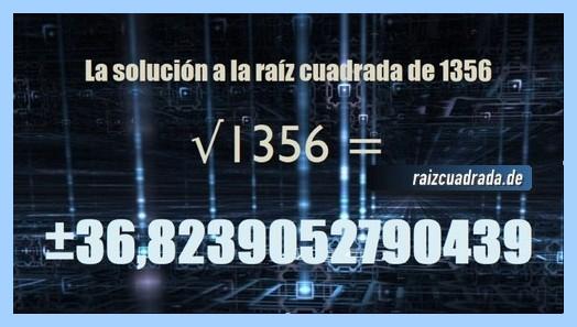 Solución obtenida en la operación raíz cuadrada de 1356