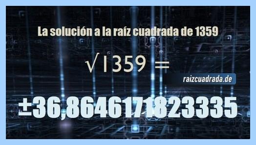 Número conseguido en la resolución raíz cuadrada del número 1359