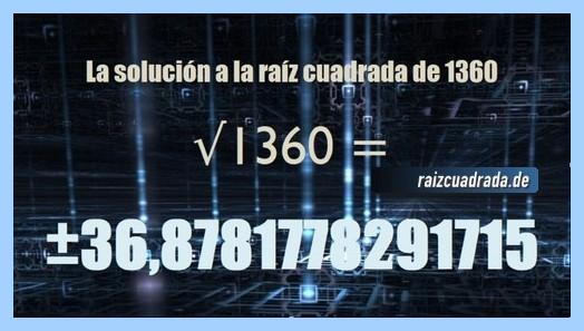 Resultado que se obtiene en la operación matemática raíz de 1360