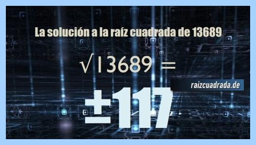 Solución finalmente hallada en la resolución operación matemática raíz de 13689