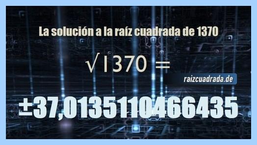 Solución obtenida en la raíz cuadrada de 1370