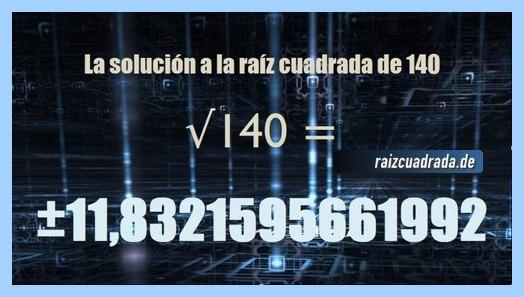 Solución conseguida en la resolución raíz cuadrada del número 140