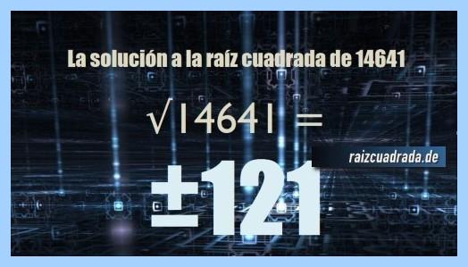Solución finalmente hallada en la operación raíz cuadrada del número 14641