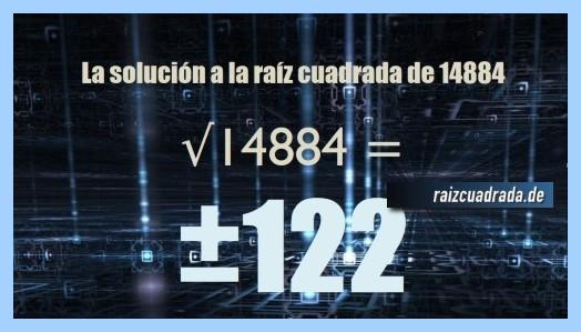 Solución obtenida en la operación matemática raíz del número 14884