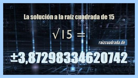 Solución finalmente hallada en la raíz cuadrada de 15