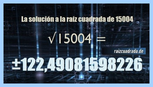 Resultado finalmente hallado en la resolución operación matemática raíz cuadrada del número 15004