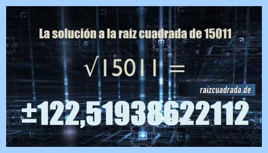 Solución conseguida en la operación raíz cuadrada de 15011