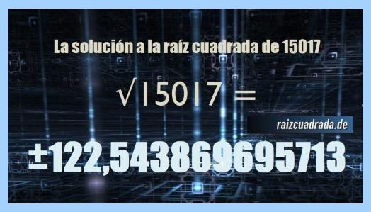 Solución que se obtiene en la raíz cuadrada de 15017