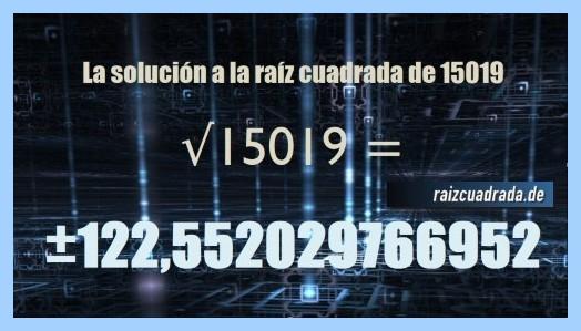 Número que se obtiene en la operación raíz del número 15019