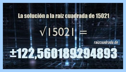 Resultado conseguido en la resolución operación matemática raíz de 15021