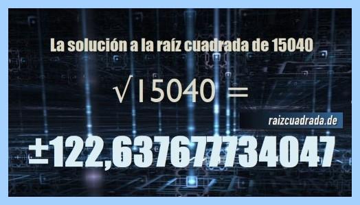 Solución obtenida en la raíz cuadrada del número 15040