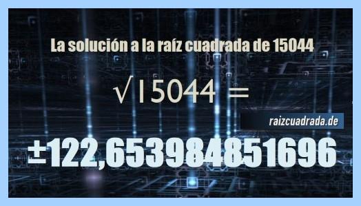 Número finalmente hallado en la operación matemática raíz de 15044