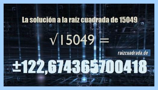 Solución final de la operación matemática raíz de 15049