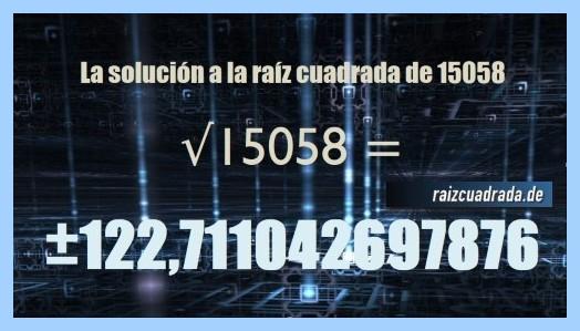 Solución conseguida en la resolución operación matemática raíz del número 15058