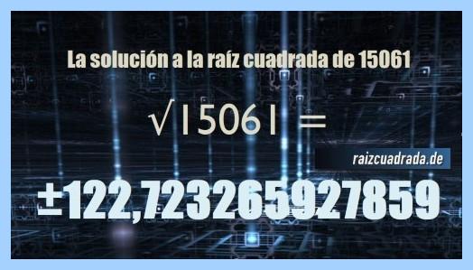 Resultado conseguido en la operación matemática raíz cuadrada de 15061