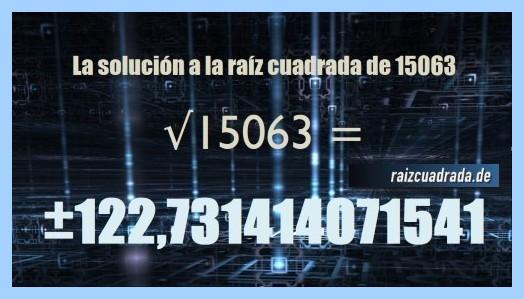 Solución final de la resolución operación raíz cuadrada del número 15063