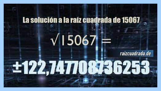 Resultado que se obtiene en la resolución raíz del número 15067