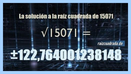 Número conseguido en la operación raíz del número 15071
