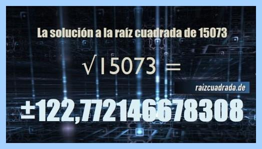 Solución conseguida en la resolución operación matemática raíz cuadrada del número 15073