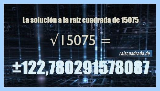 Solución finalmente hallada en la raíz cuadrada de 15075