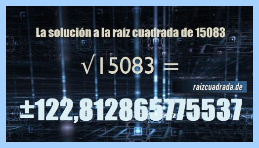 Solución final de la resolución operación raíz cuadrada de 15083