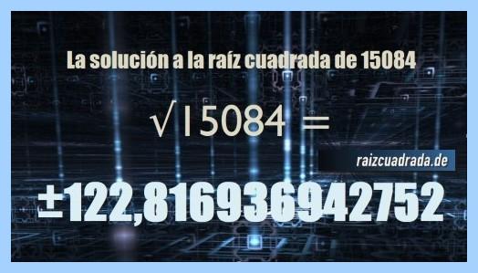 Solución final de la resolución operación matemática raíz de 15084