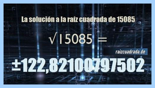 Solución que se obtiene en la resolución raíz cuadrada del número 15085
