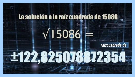 Solución final de la resolución operación raíz cuadrada del número 15086