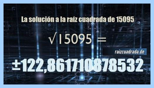 Resultado final de la operación raíz cuadrada del número 15095