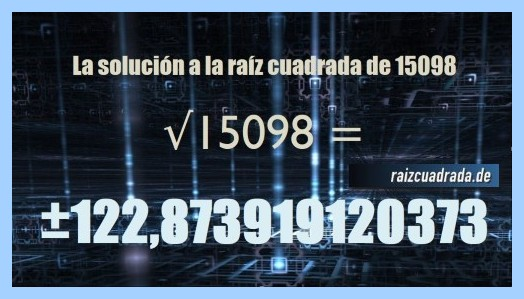 Número conseguido en la operación matemática raíz cuadrada de 15098