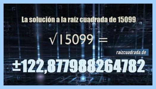 Resultado final de la operación matemática raíz cuadrada de 15099