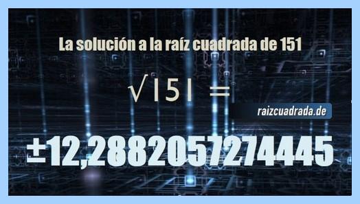 Solución obtenida en la resolución operación matemática raíz cuadrada del número 151