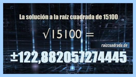 Solución final de la resolución operación matemática raíz cuadrada de 15100