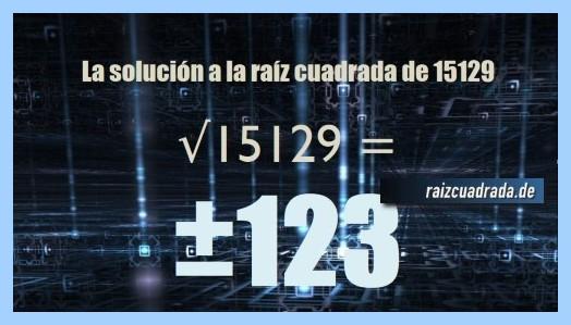 Número que se obtiene en la raíz cuadrada del número 15129