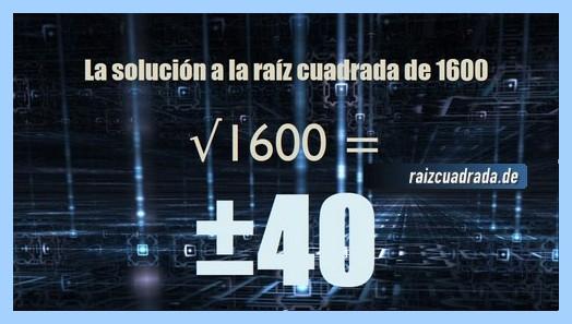 Resultado que se obtiene en la operación matemática raíz cuadrada del número 1600