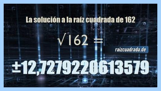 Resultado conseguido en la raíz cuadrada del número 162