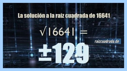 Solución conseguida en la resolución raíz cuadrada del número 16641