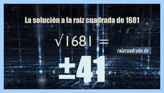 Resultado conseguido en la resolución operación matemática raíz cuadrada de 1681